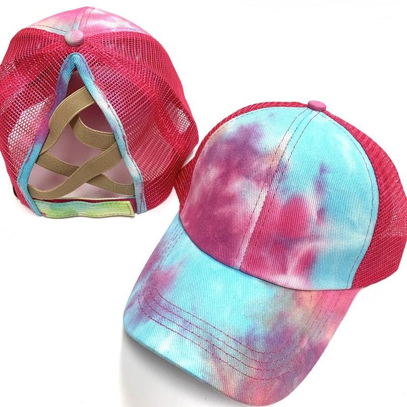 TieDye CrissCross Ponytail Hat