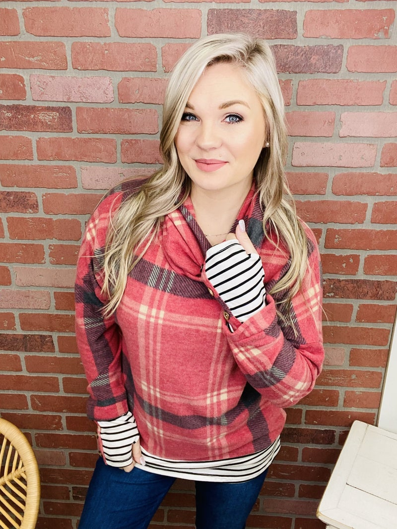 Look For Something More Plaid Top
