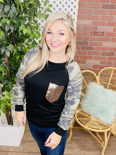 Find Yourself Again Camo Raglan Top