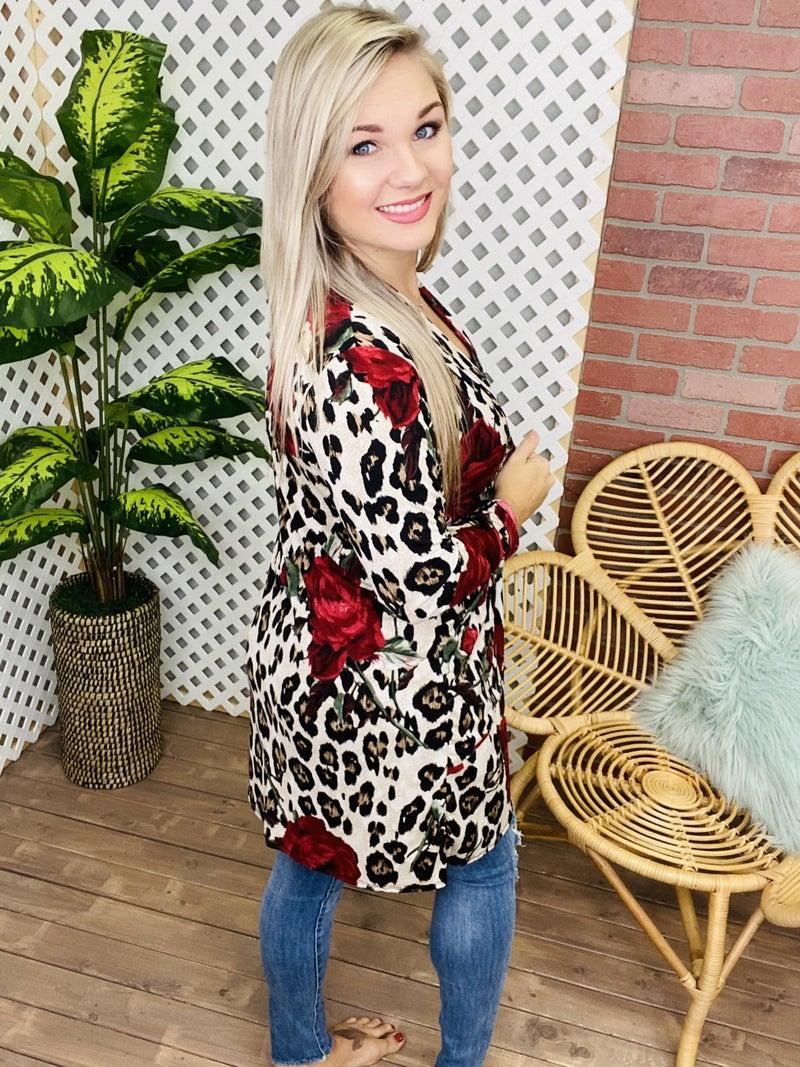 Forbidden Beauty Floral Leopard Cardigan