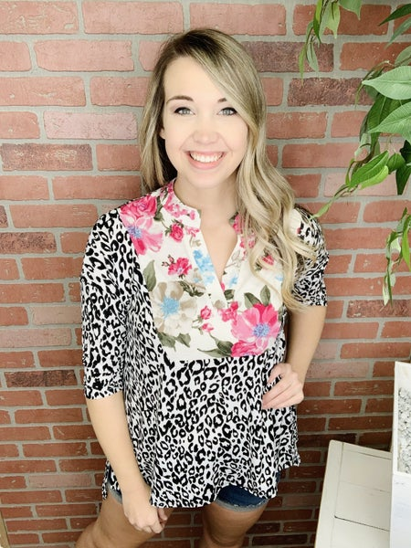 Out On The Town Leopard Gabby Top