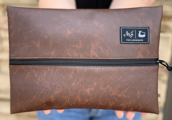 Brown Leather Makeup Junkie Bag
