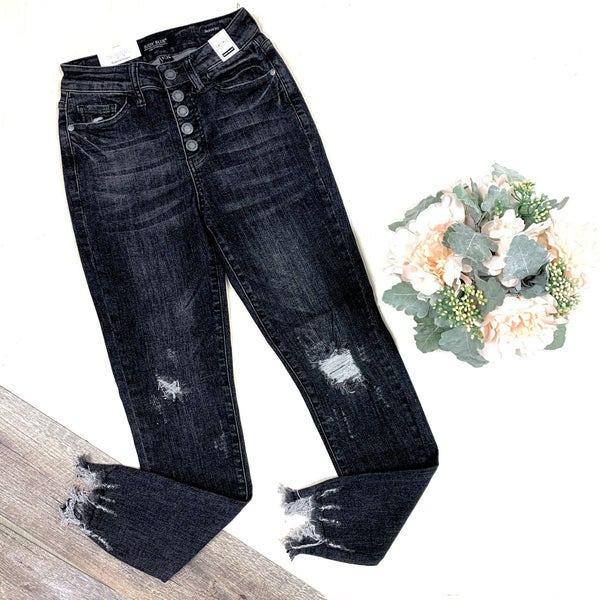 Judy Blue Black Destroyed Button Fly Jeans