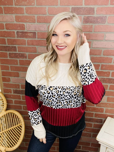 Free To Love Me Leopard Colorblock Top