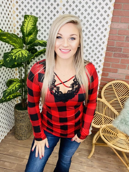 Own The Night Plaid Top
