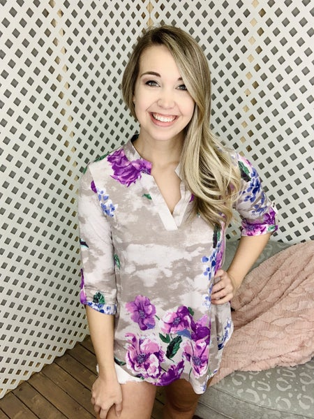 Cloudy Day Floral Gabby Top