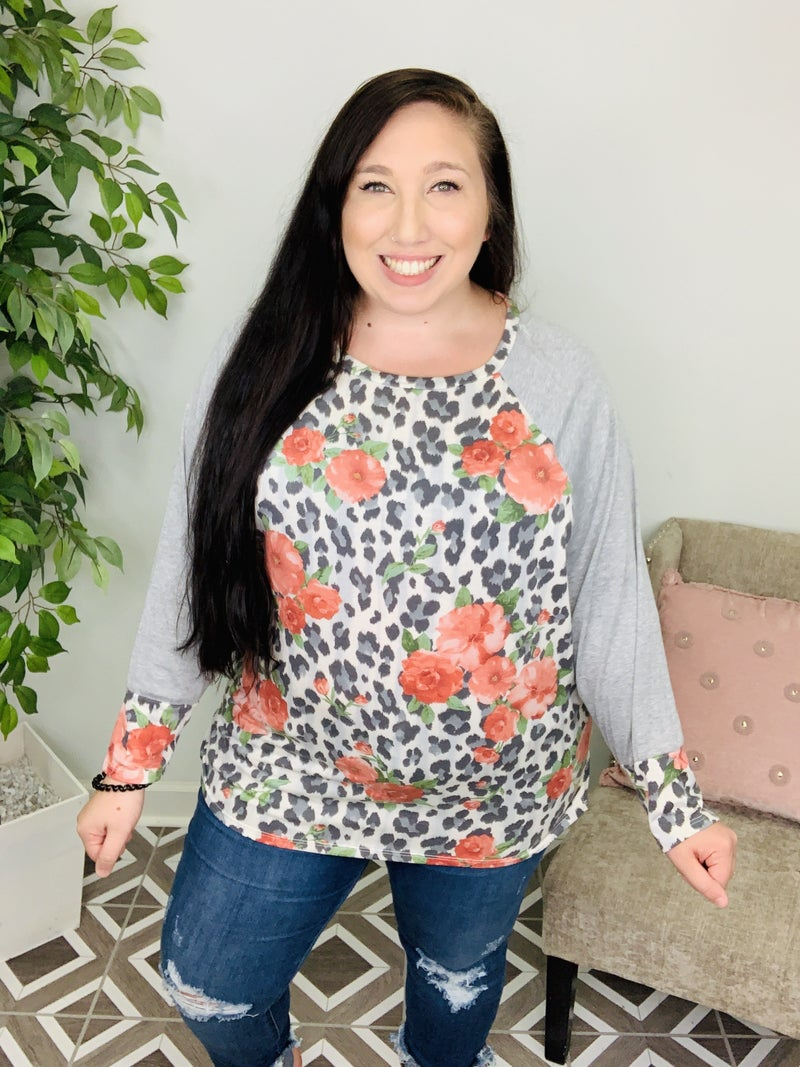 Leopard In The Fields Floral Top