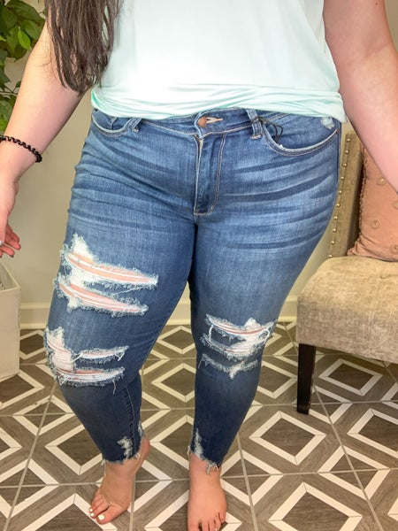 "Judy Blue ""Fashionably Late"" Destroyed Jeans"