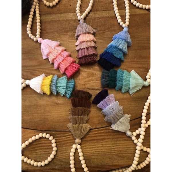 Wooden Bead Tassel Necklace