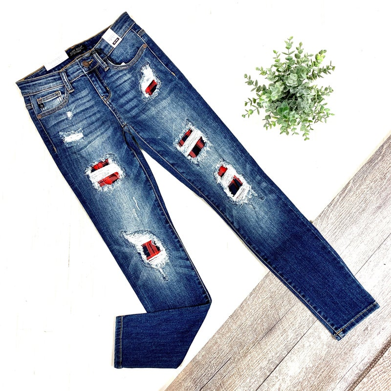 Judy Blue Plaid Destroyed Skinny Jeans