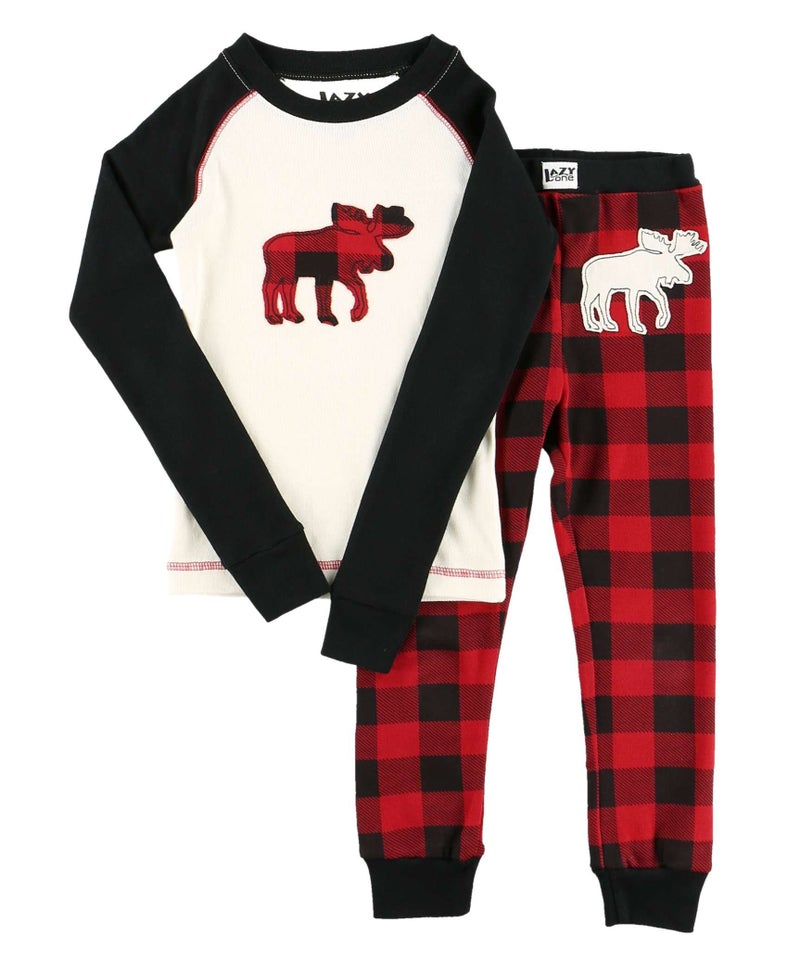 Kids Plaid Moose PJ Set