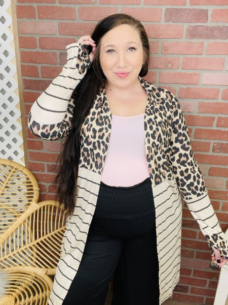 Face The Day Leopard Striped Cardigan