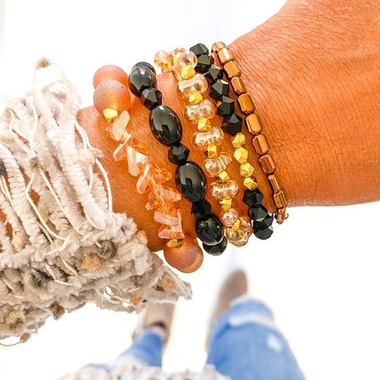 Everly Peach & Black Bracelet Stack