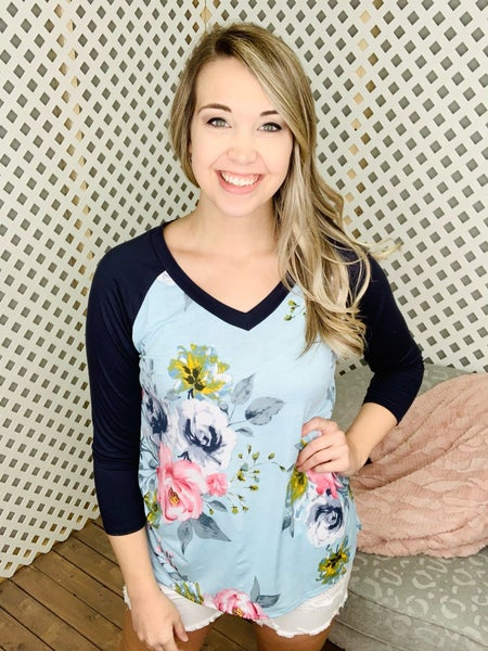 Sea Of Moss Roses Floral Top