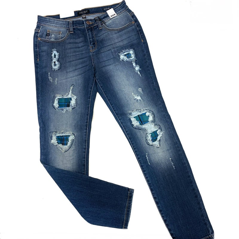 Judy Blue Green Plaid Skinny Jeans
