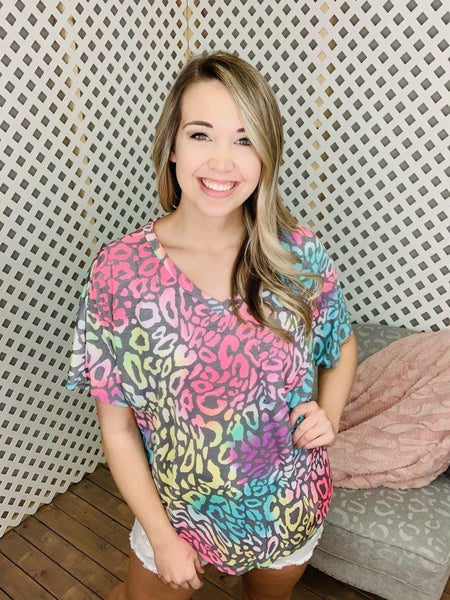 Spotted In The Open Neon Leopard Top