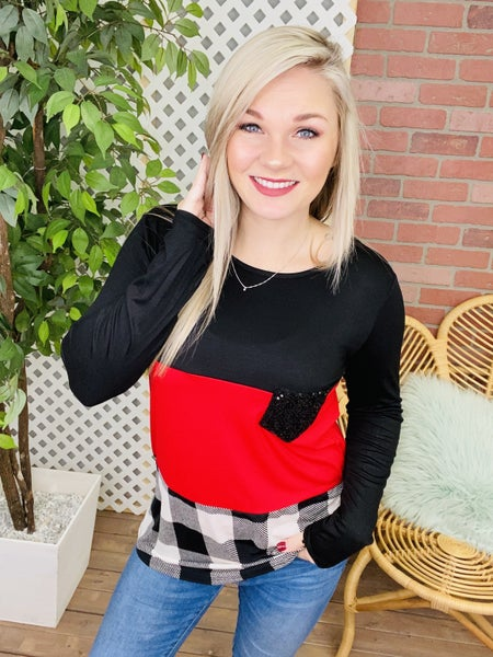 Take It All In Plaid Colorblock Top