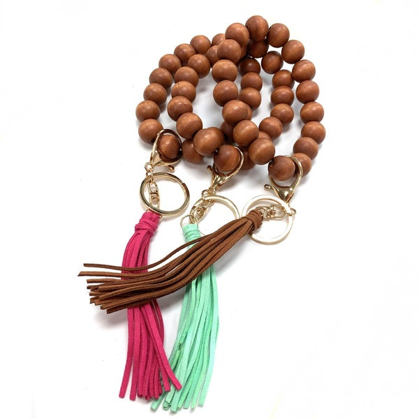 Wooden Beaded Tassel Keychain