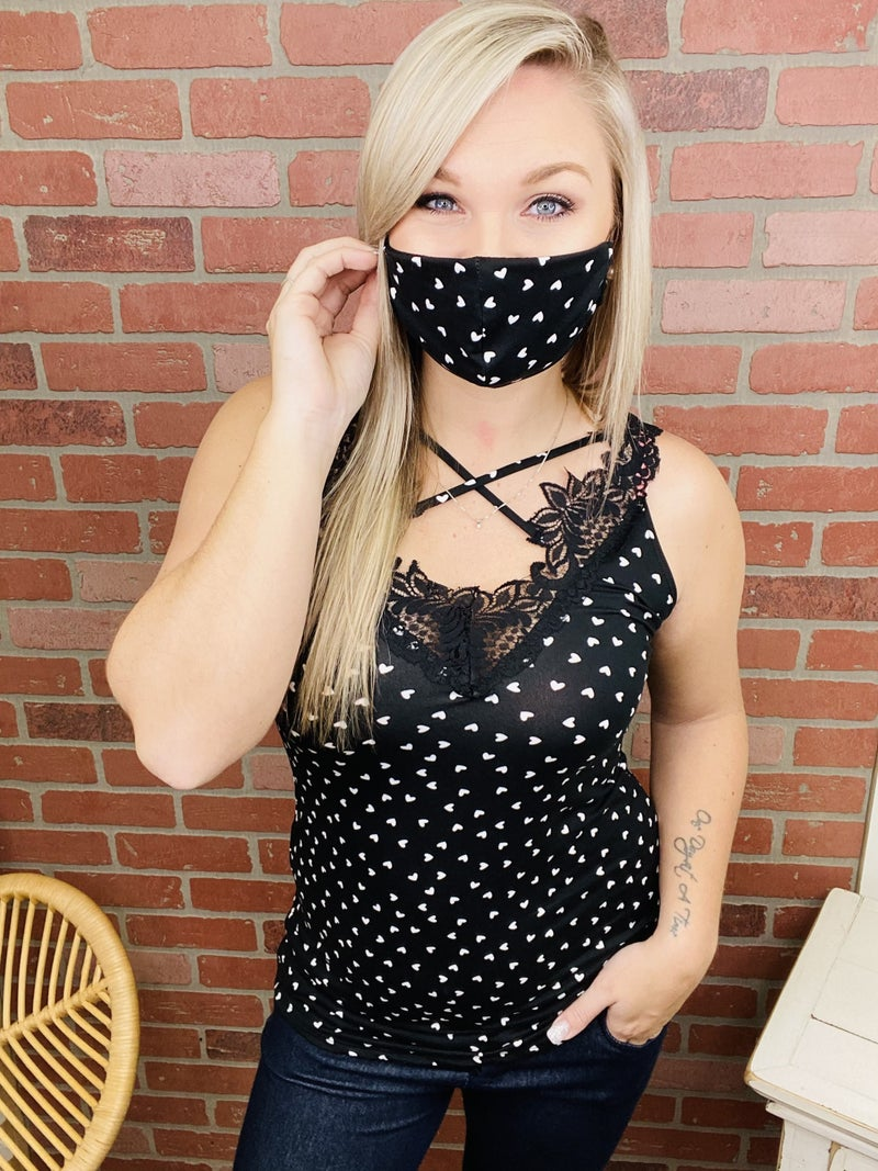 Your Hearts Desire Lace Tank with Mask