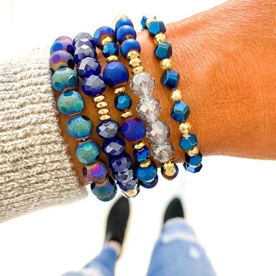 Midnight Navy & Gold Bracelet Stack