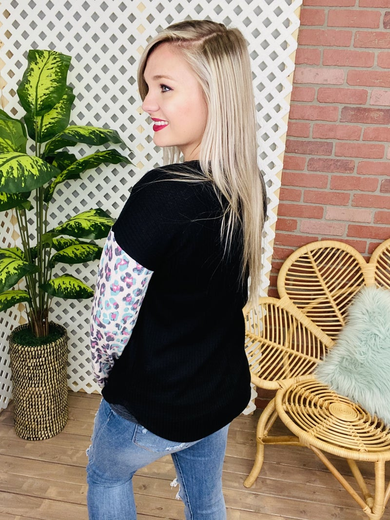 Spot The Difference Leopard Raglan Top