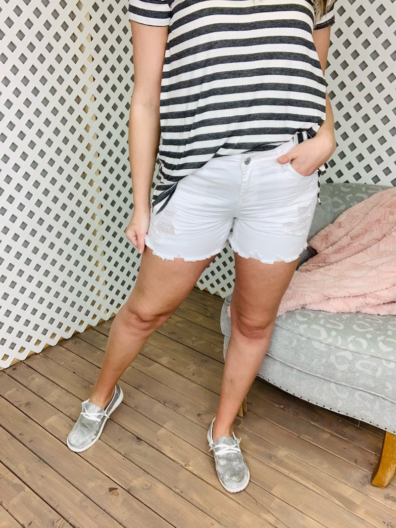 Don't Miss Me White Judy Blue Shorts