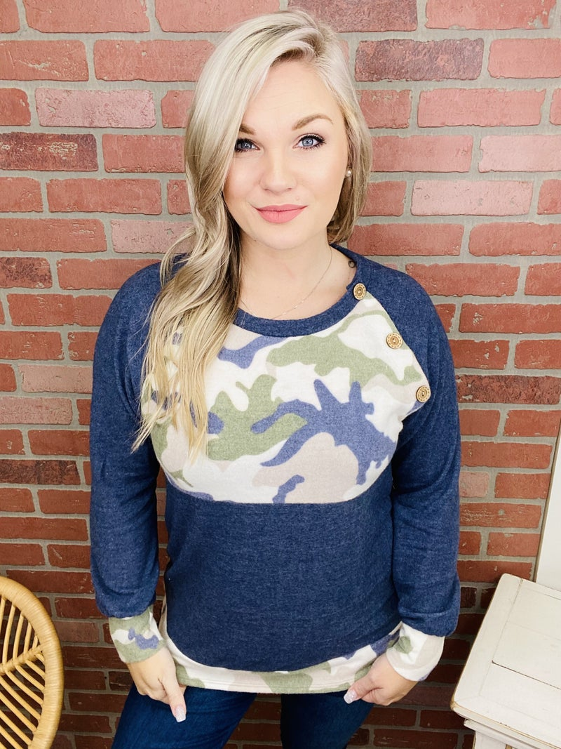 Not Holding Back Accented Camo Top