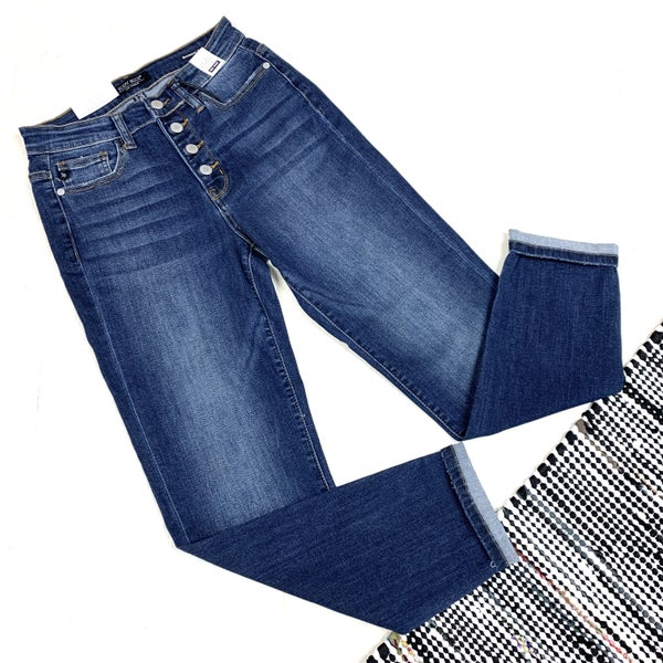 Judy Blue Button Fly Boyfriend Jeans
