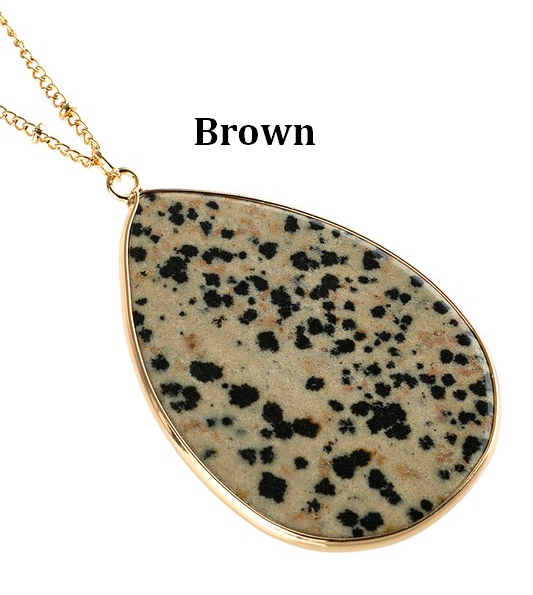 Oval Stone Pendant Necklace