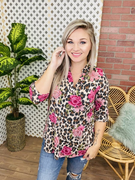 My Final Impression Floral Leopard Top