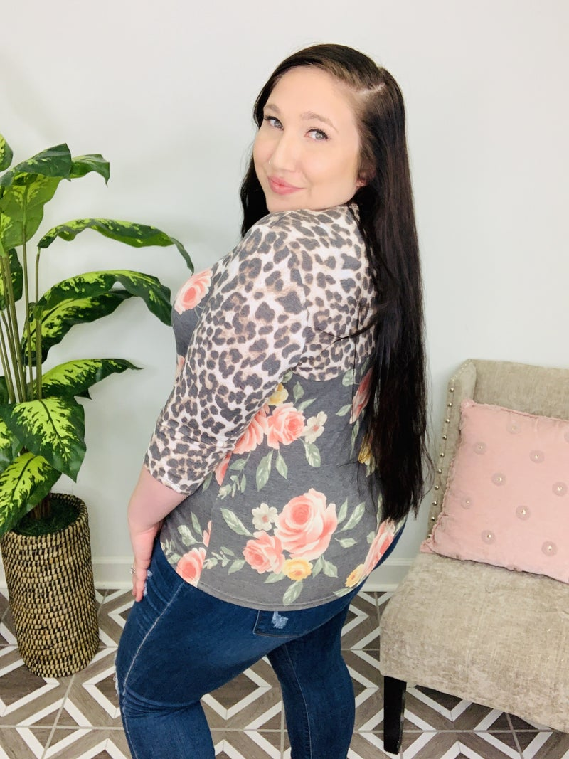 Draw Your Attention Floral Leopard Top