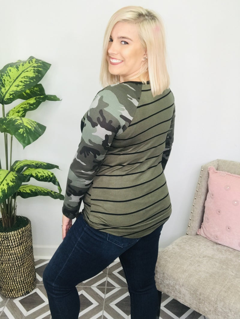 Dare To Be Seen Striped Camo Top