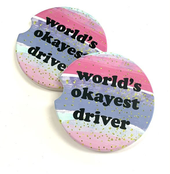 World's Okayest Driver Car Coasters