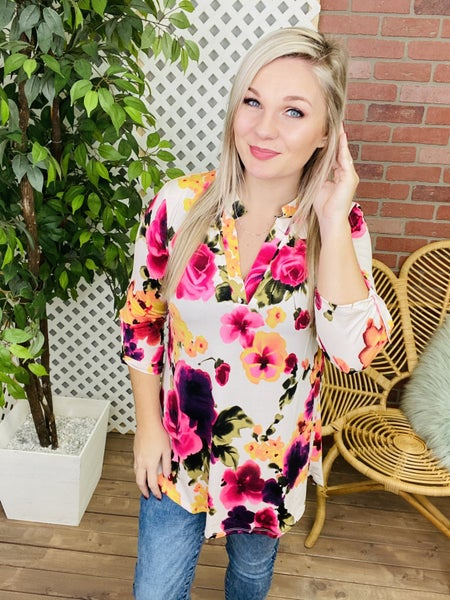 Spring Time Floral Gabby Top