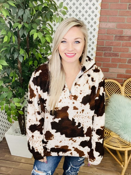 Cow Print Sherpa Pullover