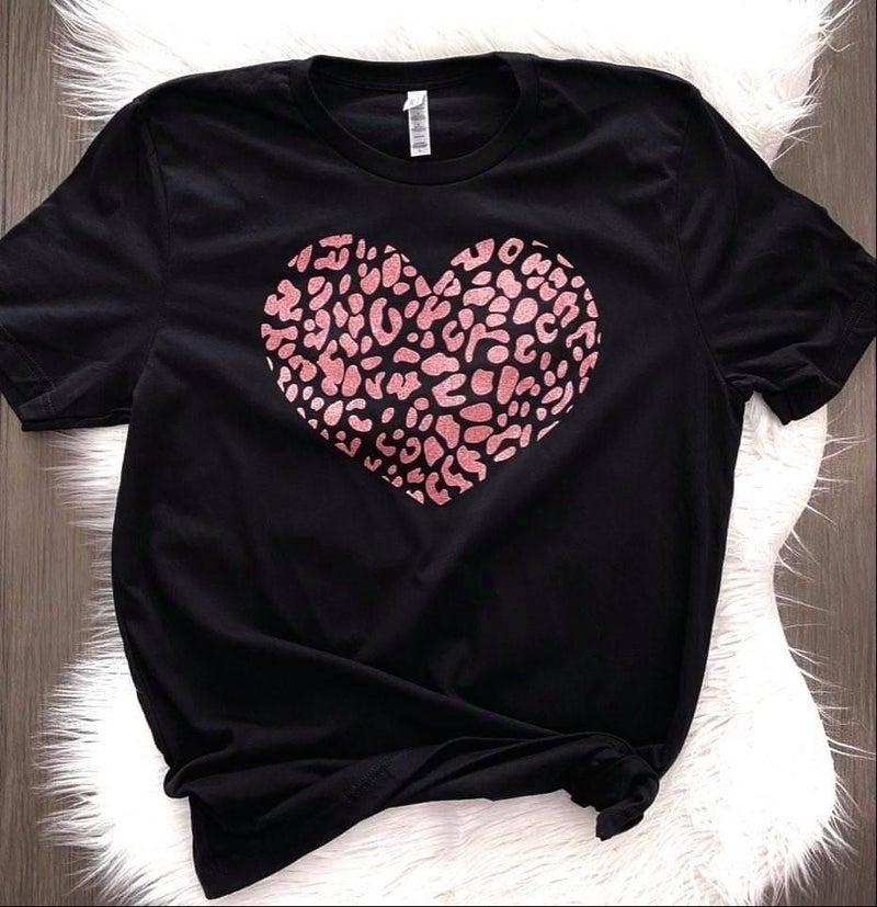 Leopard Glitter Heart Tee