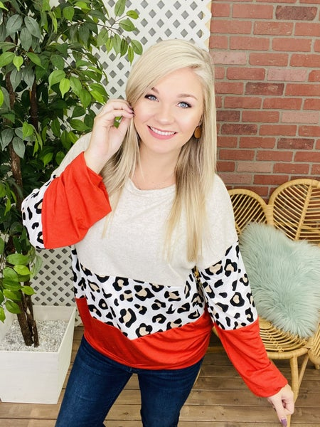 Cozy Cat Leopard Colorblock Top