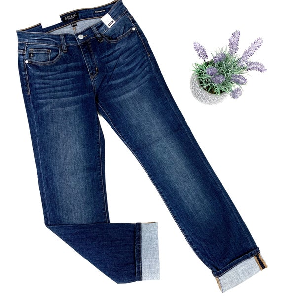 Judy Blue Cuffed Straight Jeans