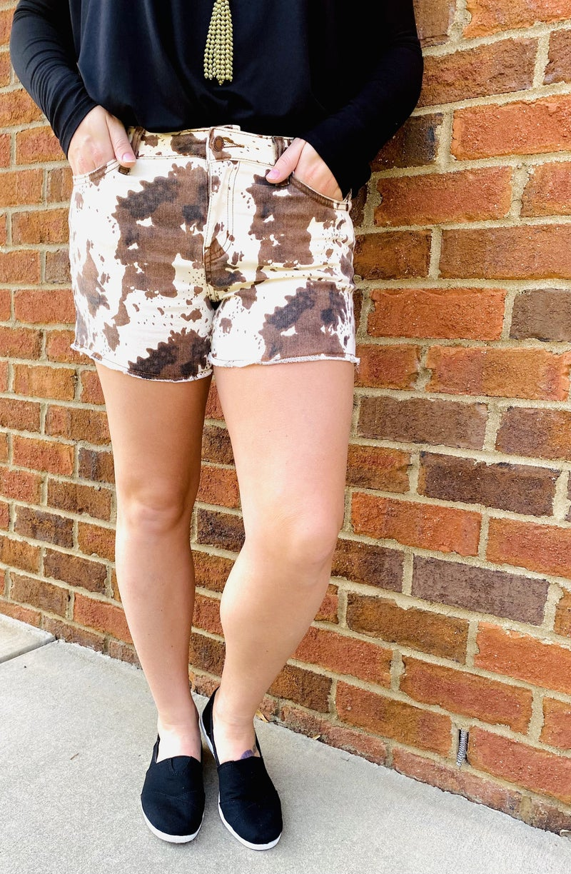 Rattle My Cage Judy Blue Cow Print Shorts