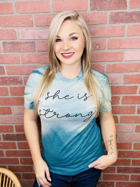 She is Strong Bleached Tee