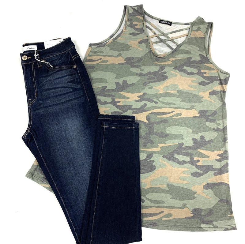 She Knows No Limit Camo Tank