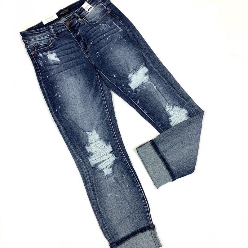 Judy Blue Bleached Boyfriend Jeans
