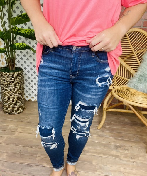 "Judy Blue ""Anything Can Happen"" Destroyed Patch Jeans"