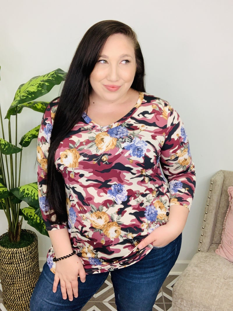Disguise My Love Floral Camo Top