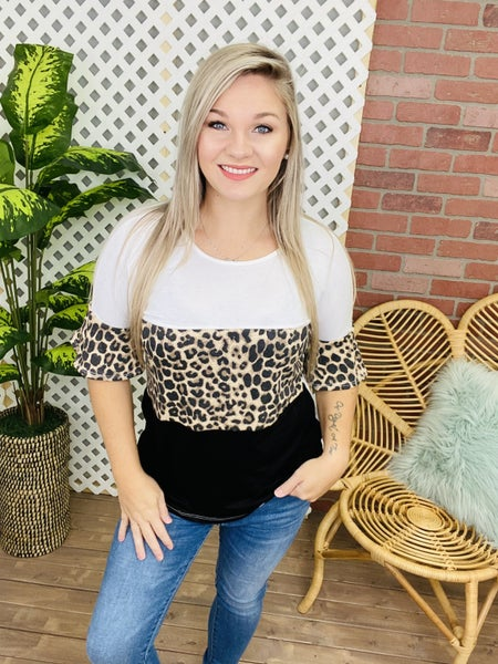 You Drive Me Wild Leopard Colorblock Top