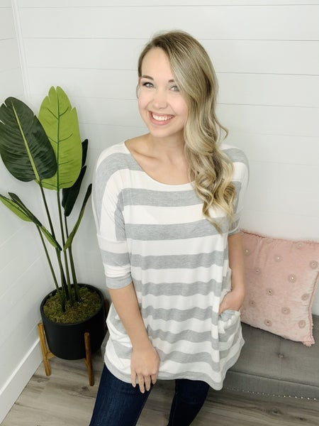 Subtle Story Striped Pocket Top (Multiple Colors)