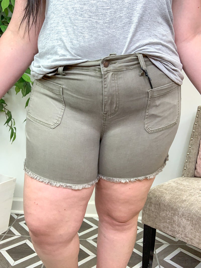 """Judy Blue """"Won't See Me Coming"""" Olive Cutoffs"""