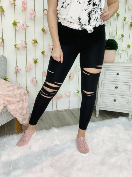 Sexy Solid Distressed Leggings