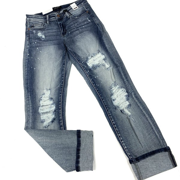 Judy Blue Bleach Splash Boyfriend Jeans