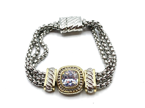 Silver Chain Link Bracelet with Gold Finish